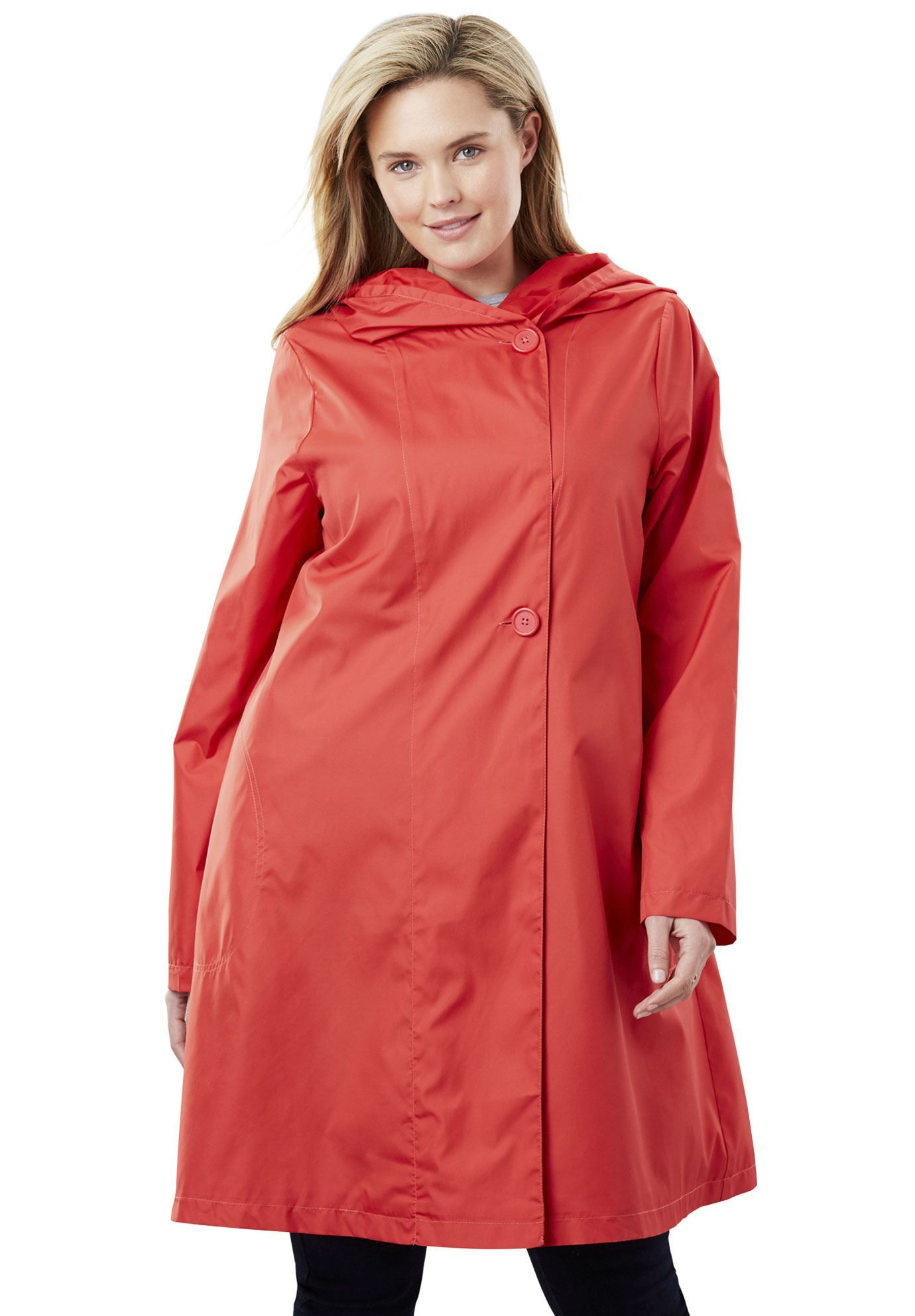 ebc511dd Packable water-resistant hooded raincoat with zip bag - Women's Plus Size  Clothing