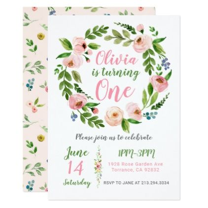 Floral Garden 1st Birthday Invitation | Peony Girl - birthday cards invitations party diy personalize customize celebration