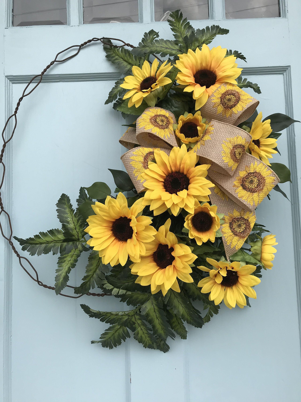 Sunflower Wreath For Front Door Summer Or Fall Wreath For Etsy Farmhouse Wreath Fall Wreath Wreaths For Front Door
