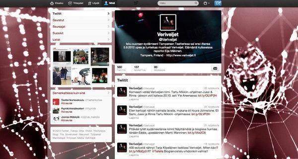 Veriveljien Twitter-tili avattiin 2.3.2012. Sen avulla on pyritty herättämään kiinnostusta esitystä ja sen tekijöitä kohtaan. Liveraportointeja on tehty mm. harjoituksista, yleisötilaisuuksista ja ennakkoesityksistä. Kirjoittajana on toiminut Eija Mäkinen.