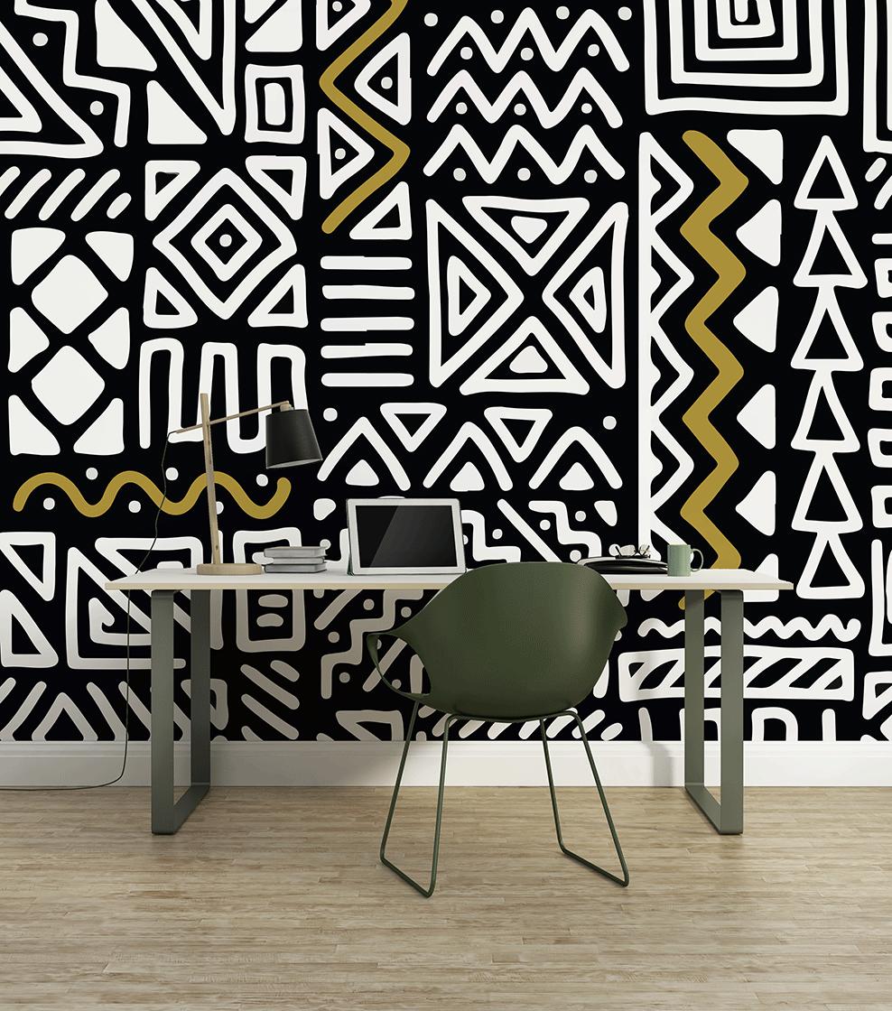 Décor mural wax Yumbe , Collection Au fil des Couleurs x Sandrine Alouf  papierpeint