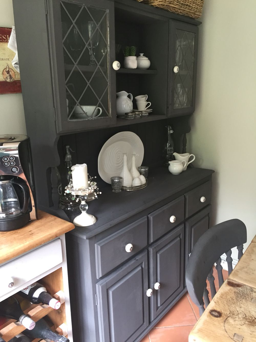 Pine dresser painted in rustoleum chalk paint in graphite, watered down  paint slightly to achieve