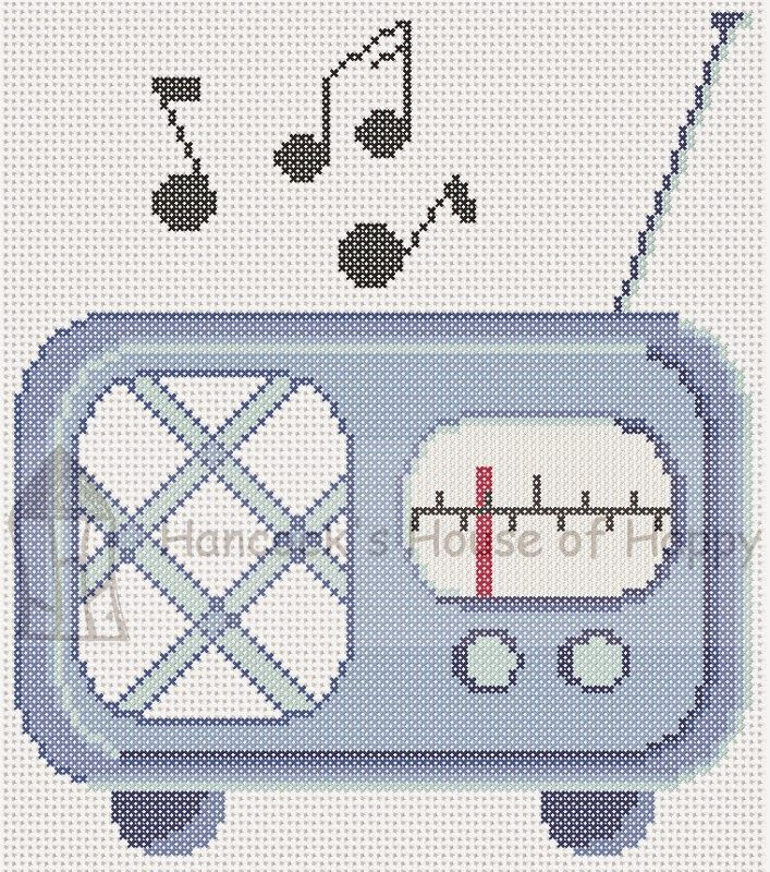 Get groovy with this little retro radio cross stitch chart. Free ...