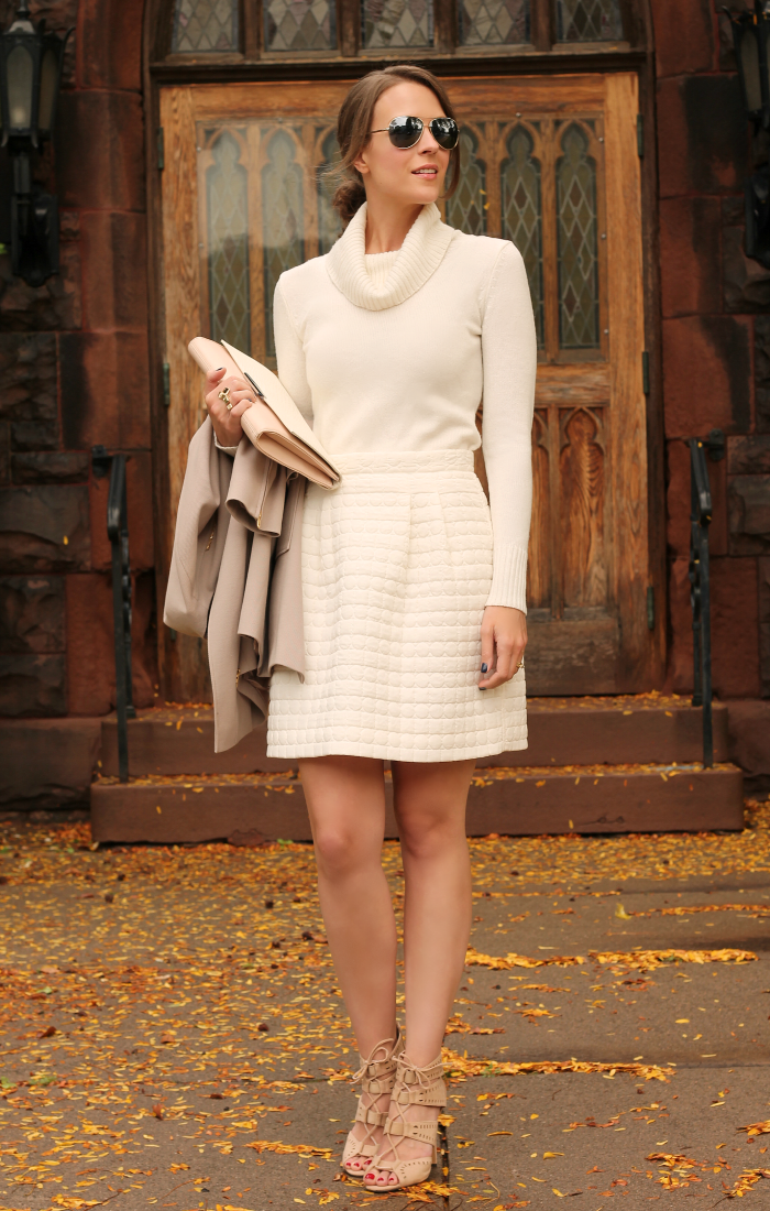 b6bbd1c2f5e3 Go for a cream sweater dress with nude heels. The look is 100%  sophisticated.