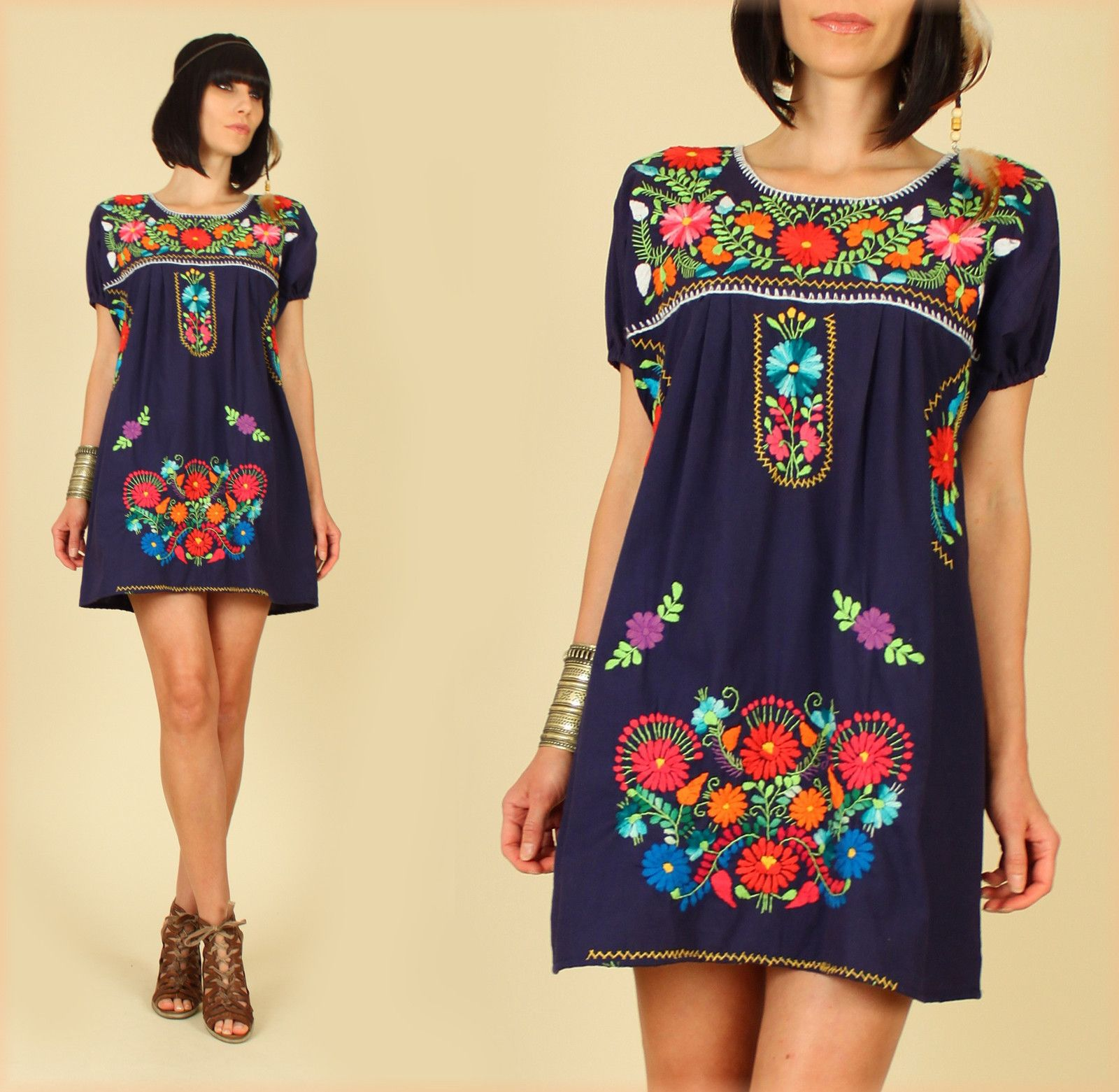 4f86b0a13ae0 Mouse over image to zoom Sell one like this ViNtAgE 70 s Blue Mexican  Floral Embroidered MiNi Dress HiPPiE BoHo