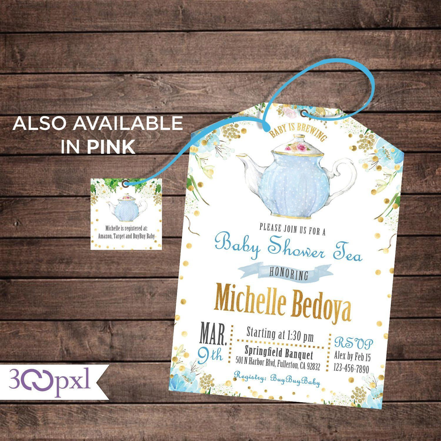 Tea Party Baby Shower Invitation A Baby Is Brewing Tea Bag Etsy Tea Party Baby Shower Invitations Baby Shower Tea Tea Party Garden