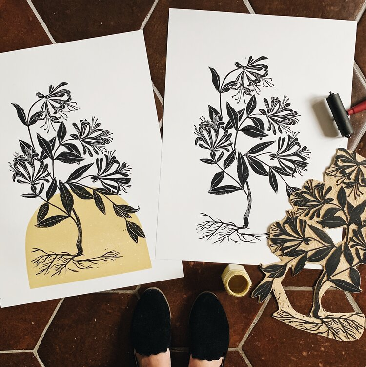 June Honeysuckle in Mustard in 2020 Linocut prints