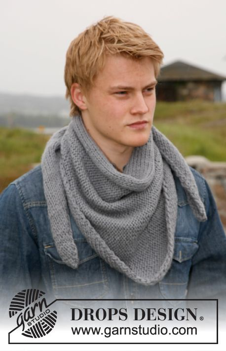 Knitted DROPS shawl for men worked from side to side in \