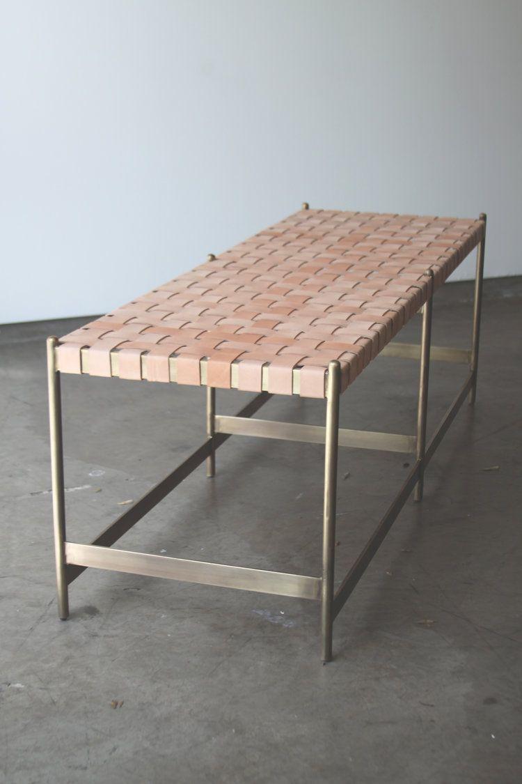 leather strap metal bench thomas hayes studio furniture