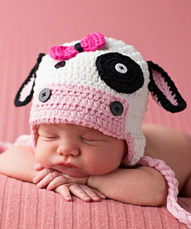 Loving this White & Pink Cow Crochet Hat on #zulily! #zulilyfinds