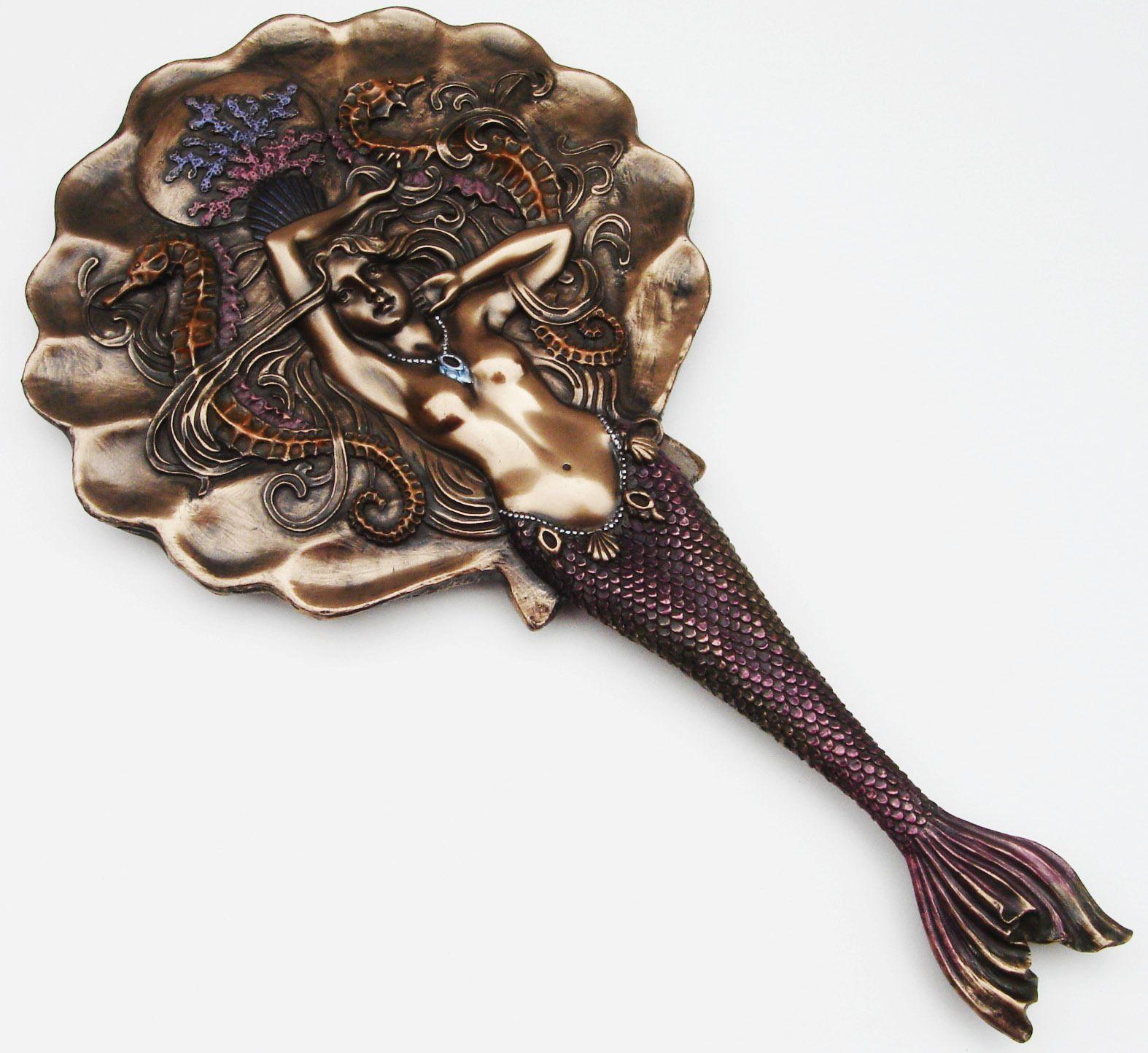 New Vintage Antique Mermaid Hand Mirror Nautical Decor