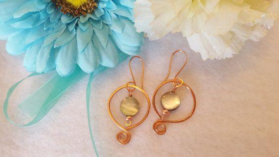 Copper Wire Dangle Earrings Handmade Earrings by MyMiaArabella
