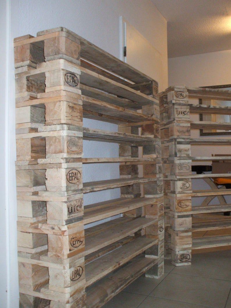 Xxl Shoe Rack Made Of Pallets 10 Floors Pallet Furniture In 2020 Pallet Furniture Pallet Pallet Shoe Rack
