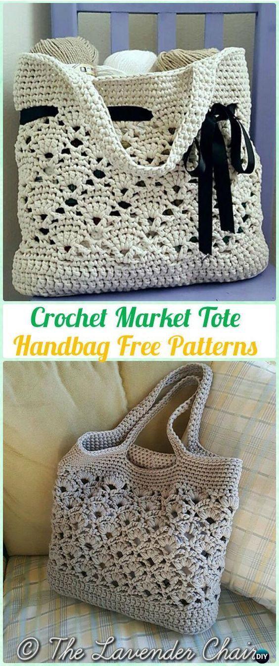 Mercado de ganchillo bolso de mano del patrón libre - #Crochet bolso ...