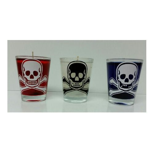 Halloween Skull Shot Glass Gel Candles Qty By GreatLakesDecals - Vinyl decals for shot glasses