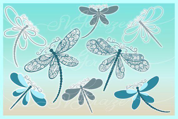 Download Dragonfly Mandala Zentangle Bundle SVG Dxf Eps Pdf PNG ...