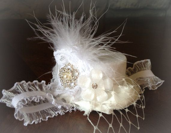white wonderland Mini Top Hat baby headband shabby chic, christening, blessing