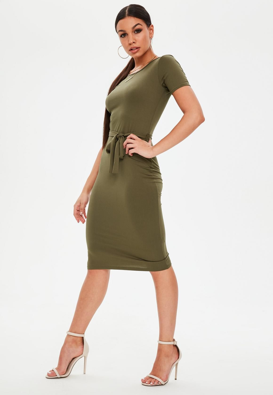 05aa34864a17 Khaki Short Sleeve Tie Waist Midi Dress
