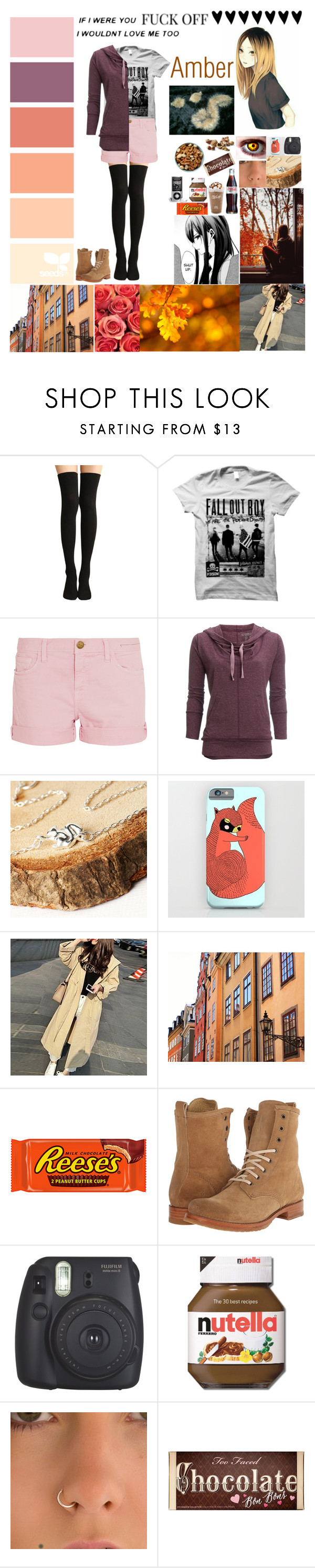 """Amber"" by silentdoll ❤ liked on Polyvore featuring Current/Elliott, Carve Designs, Hooded Trench, Frye, Fujifilm and Too Faced Cosmetics"