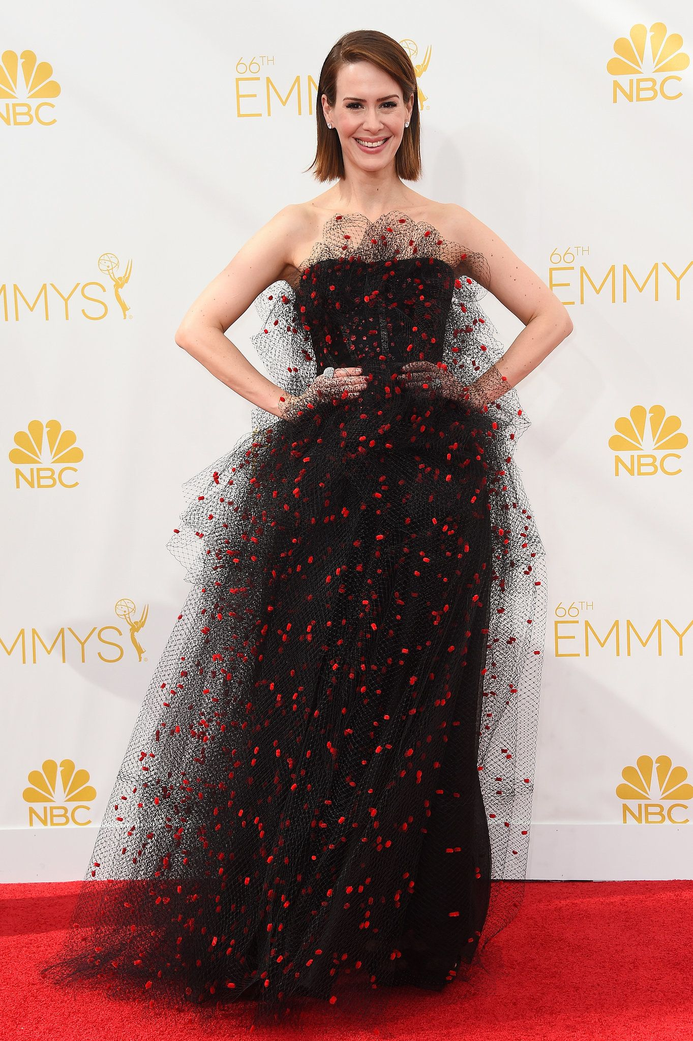 Sarah Paulson took a whimsical route in her polka dot tulle gown at the Emmys.