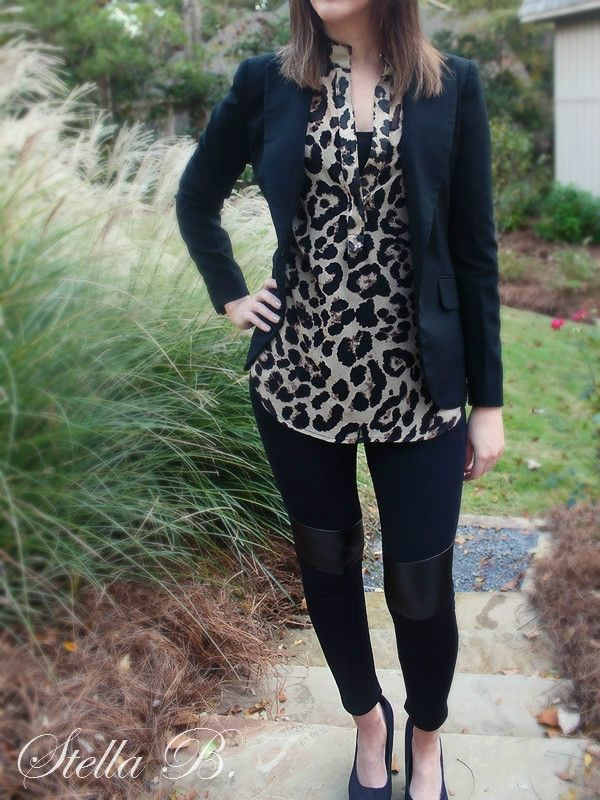 leather leggings with leopard top and blazer