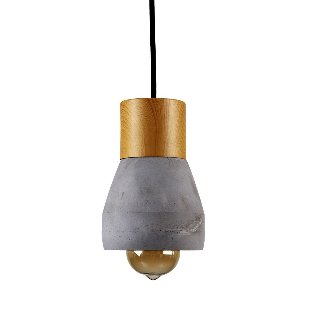 Contemporary Industrial Style Cement & Wood Ceiling Pendant Light ...