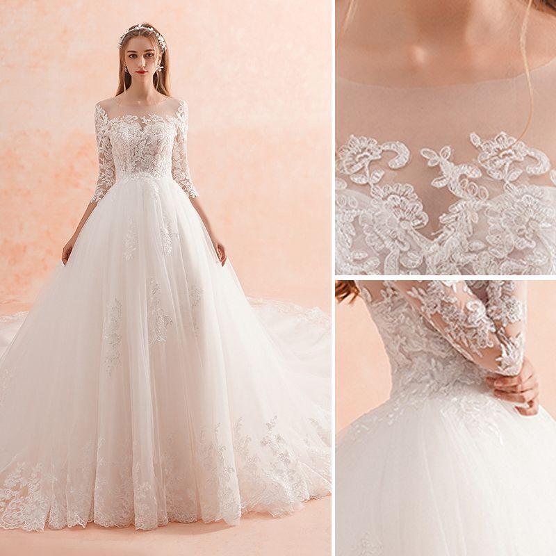 Elegant ivory wedding dresses 2019 aline princess scoop
