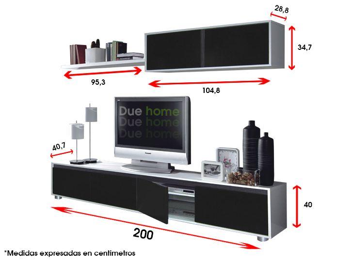 Medidas mueble de tv buscar con google muebles para - Muebles para televisores ...