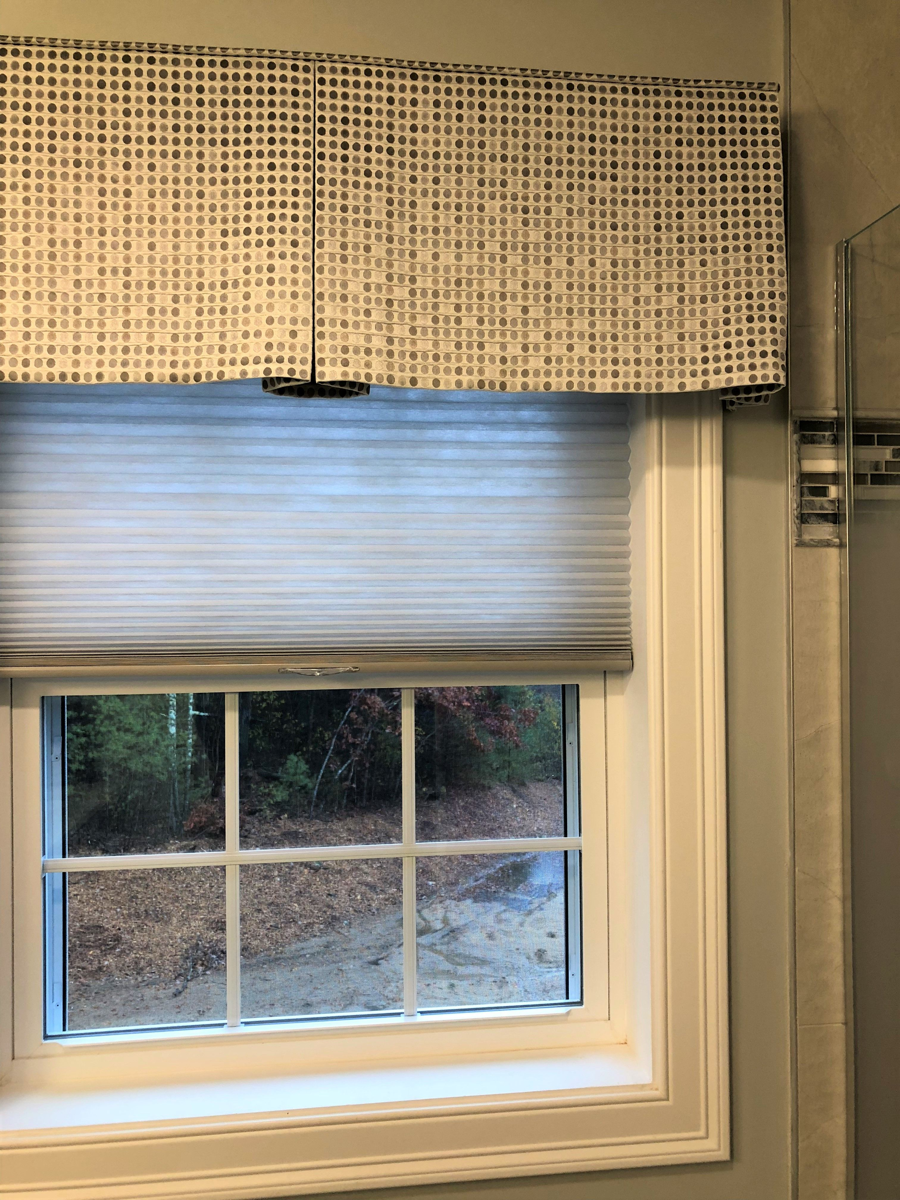 Valance Cellular Shade Pair Is Wonderful For This Bathroom