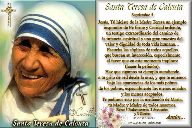 Vidas Santas Estampita Y Oración De Santa Teresa De Calcuta Santa Teresa De Calcuta Imagenes De Santos Catolicos Santa Teresa