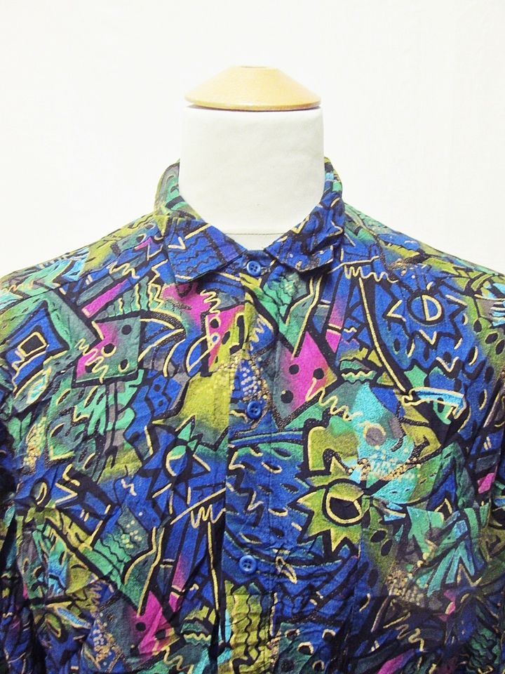 Vintage 90s Hip Hop Street Style Crazy Pattern Shirt Medium