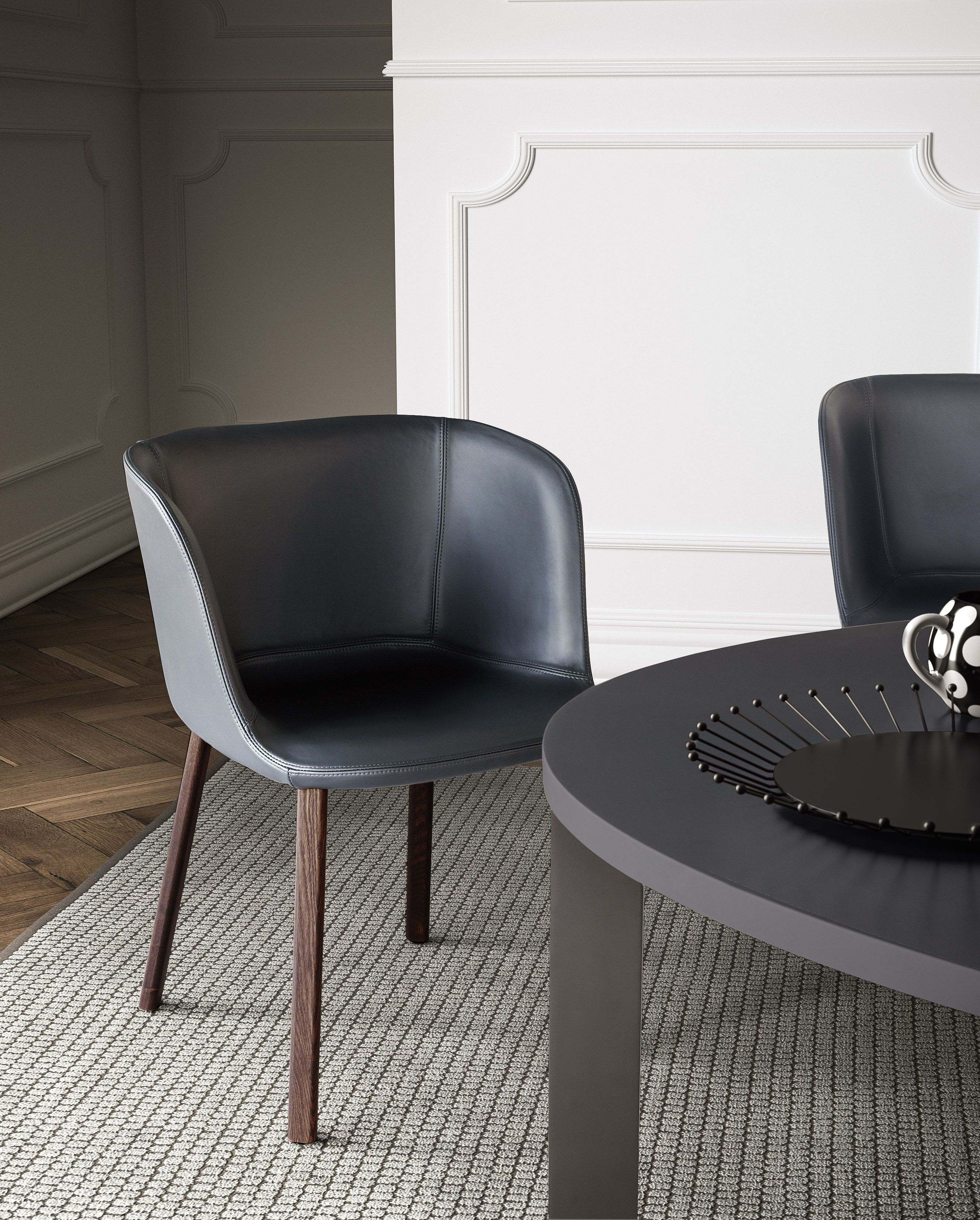 ESSE Side Chair With Fixed Synthetic Leather Cover And Burnt Oak Legs |  PIANCA |