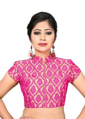 b16d4c82c3dd45 Pink printed brocade collar blouse readymade-blouse in 2019 | Bridal ...