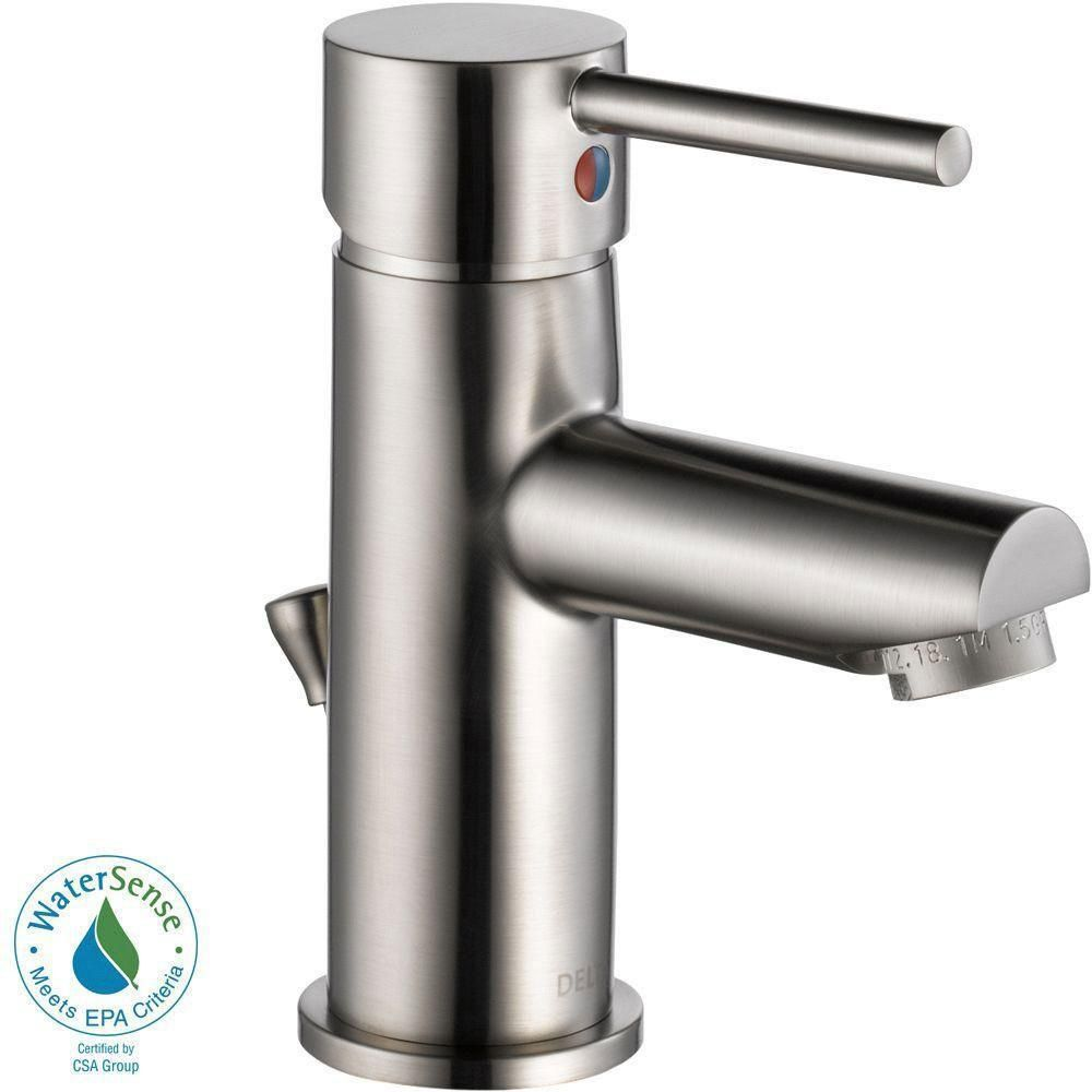 Delta Trinsic Single Hole 1-Handle Bathroom Faucet in Stainless ...