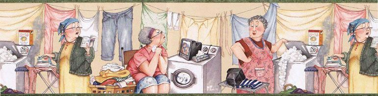 Laundry Room Ladies Iron Wallpaper Border Sb10272b