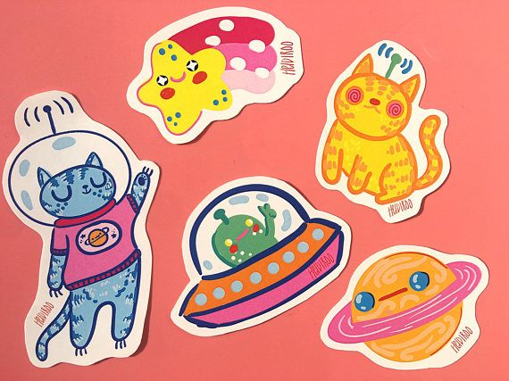Spaced out cats vinyl sticker pack outer space sticker set