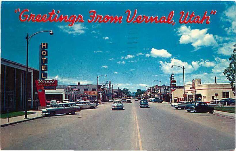 Postcard 1950s Street Scene Vernal Utah Vernal Utah Utah Vernal