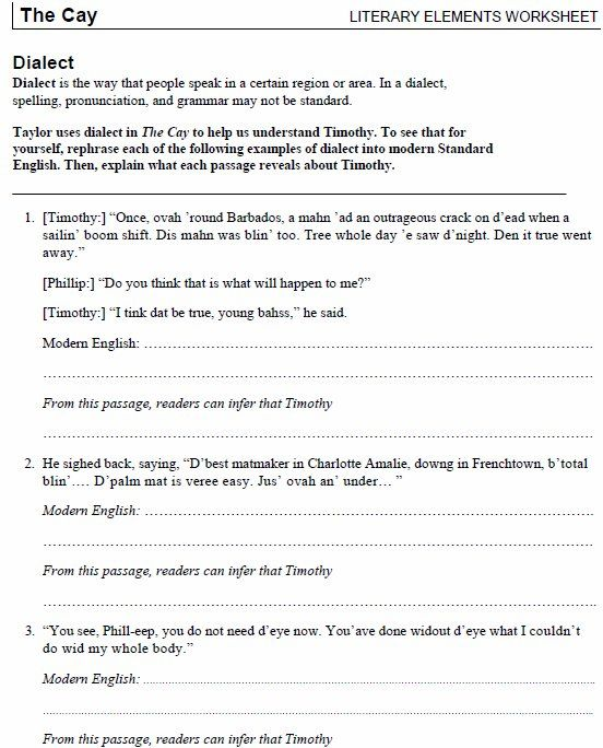dialect guide to use with the cay by theodore taylor grades 6 8