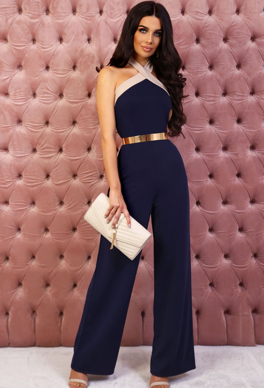 c0dc5b7e44a Victorious Navy Halterneck Wide Leg Jumpsuit - 10 in 2019