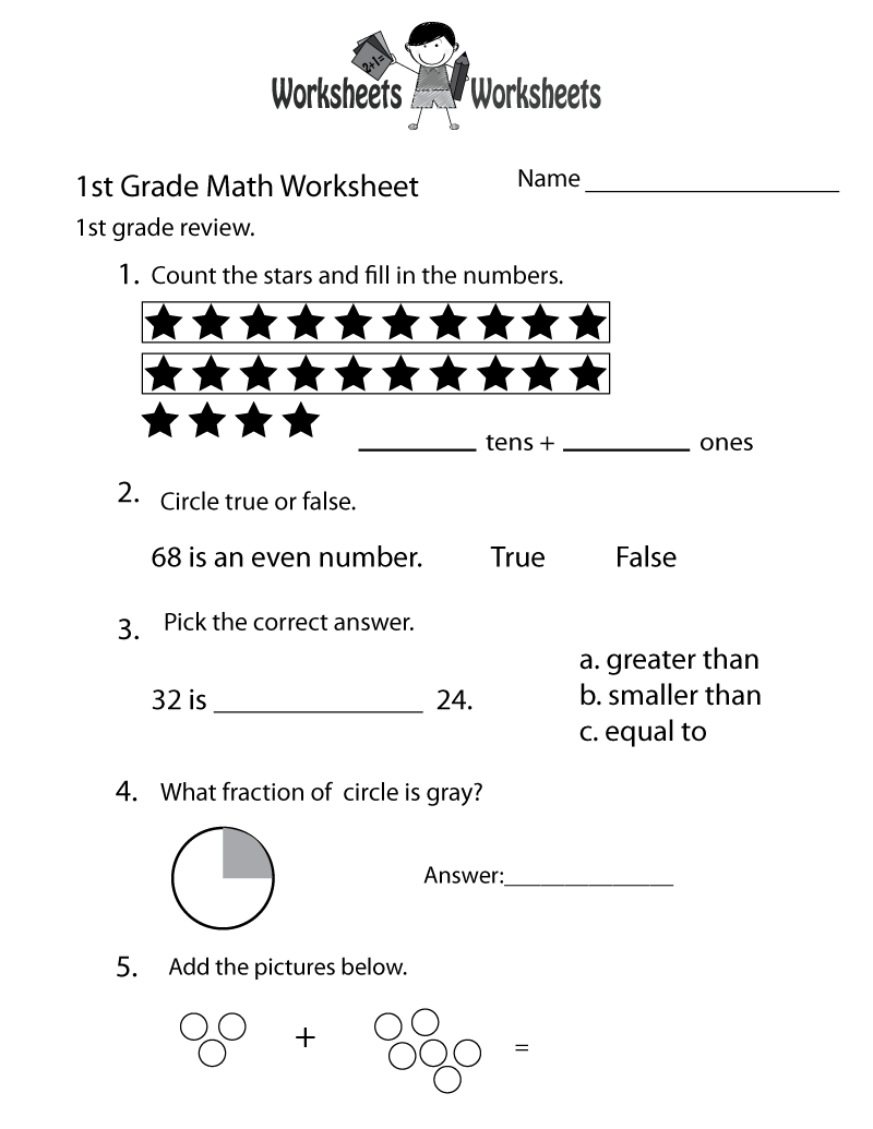 small resolution of 1st Grade Math Review Worksheet Printable   Math worksheets