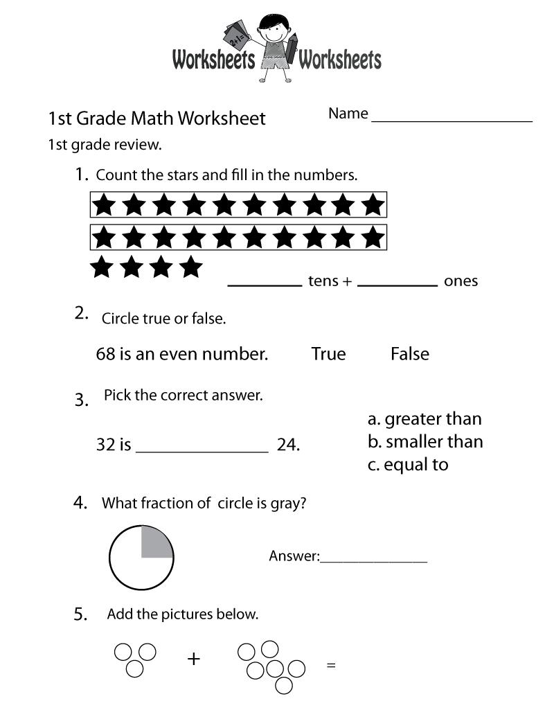 1st Grade Math Review Worksheet Printable   Math worksheets [ 1035 x 800 Pixel ]