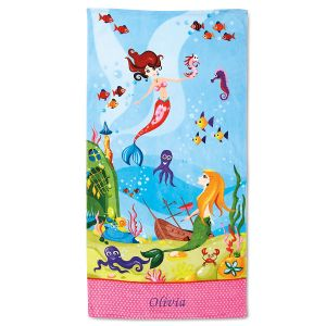 Mermaid Personalized Towel In 2020 Personalized Towels Kids