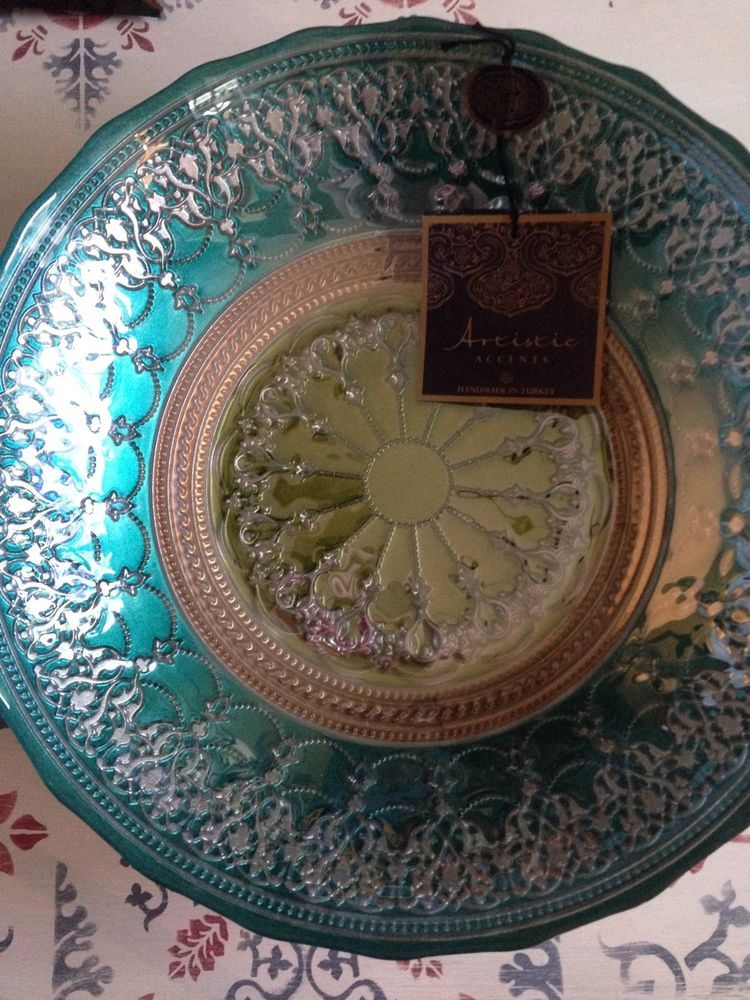 eBay & Handmade Turkish Glass Bowl in Teal and Green Artistic Accents 12 ...