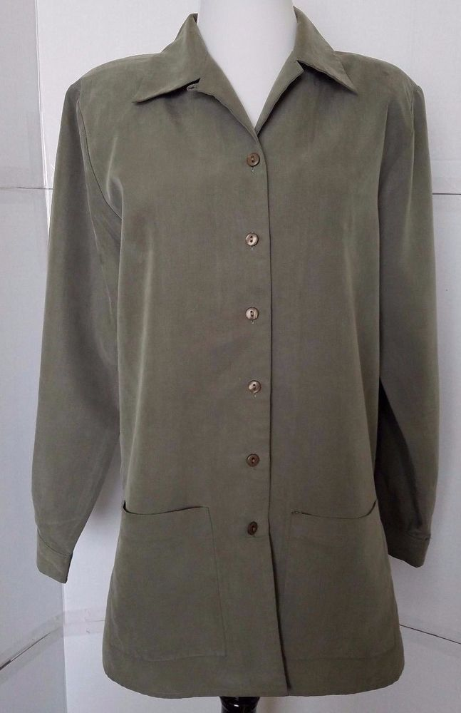 Anna Light Blazer Womens Medium Shirt olive green Long Sleeve unlined sz M #Anna #ButtonDownShirt #Career