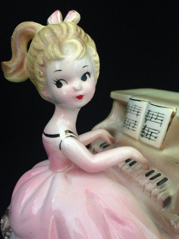 Vintage Josef Originals Figurine Music Box Girl Playing Piano Foil Sticker Works