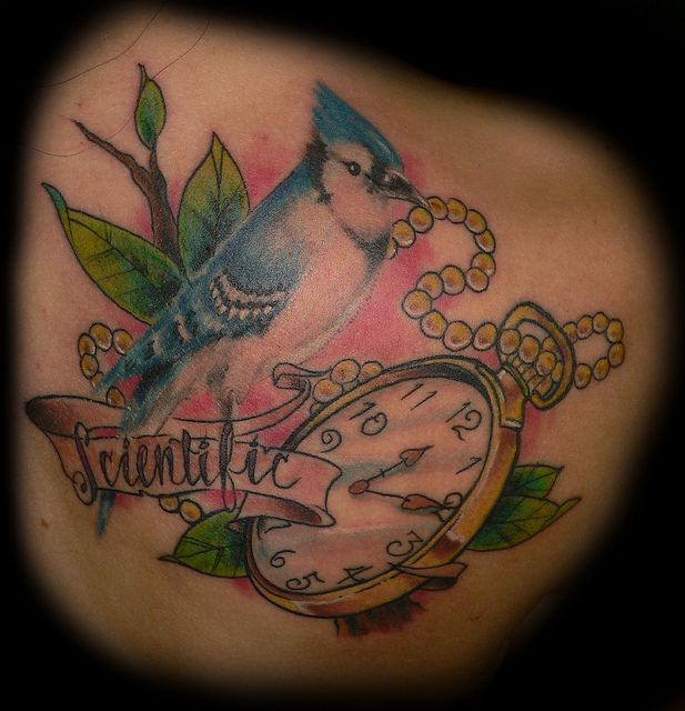 Blue Jay with Pocket Watch Tattoo by slushbox, via Flickr