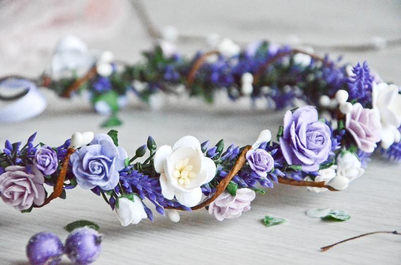 Lavender Flower Crown Purple Floral Crown Wedding Hair Wreath Pink White Purple Bridal Headpiece Lavender And White Crown Flower Headband In 2020 Floral Crown Wedding Purple Floral Crown Floral Crown Wedding Hair