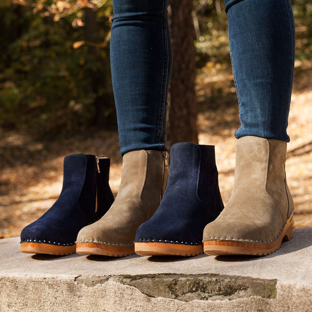 b90ccc2814b558 New Turner clog boots available in aloe green and navy blue suede  troentorp