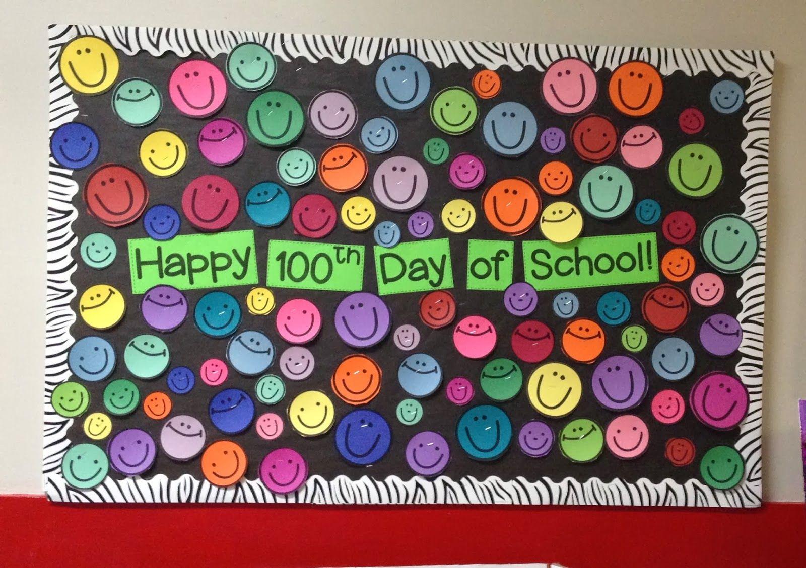 One hundred happy faces bulletin board | Bulletin board ...