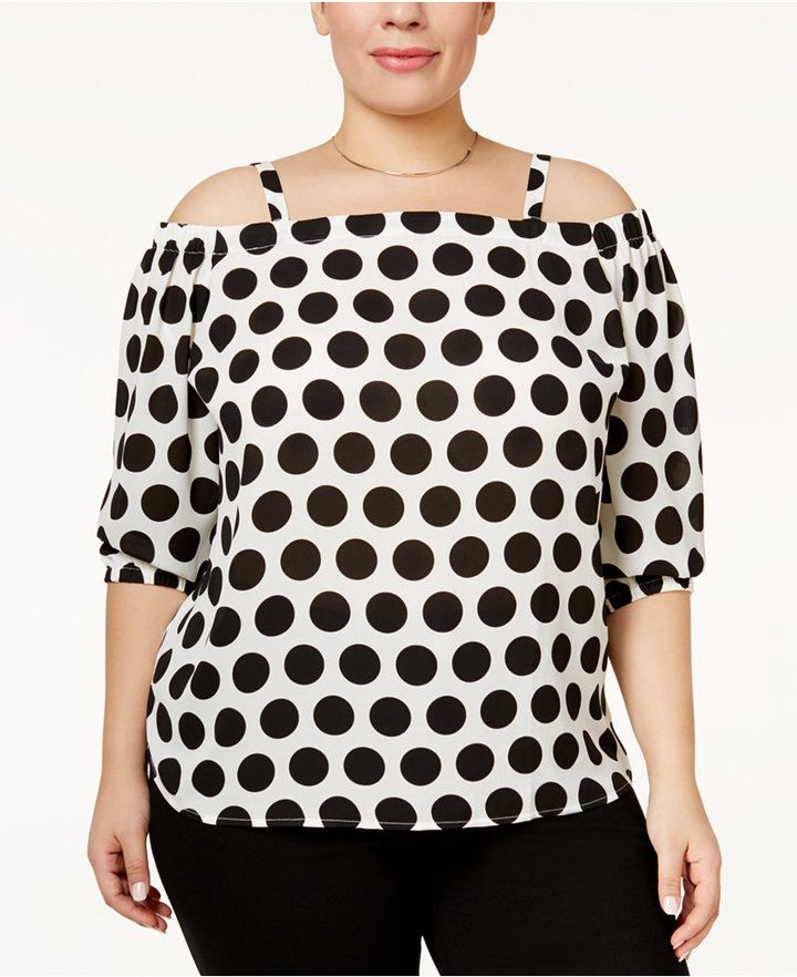 bf8552c7604f9 INC International Concepts Plus Size Off-The-Shoulder Polka-Dot Top ...